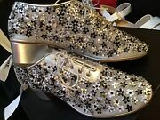 Authentic Silver Mesh Sequin Flower Lace Up Runway Wedges 😍37