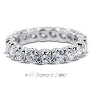 1 1/2ct Tw F Si1 Round Natural Certified Diamonds Pt 950 Classic Eternity Ring