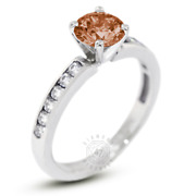 1.27 Ct Red Vs1 Round Natural Certified Diamonds 14k Classic Side-stone Ring