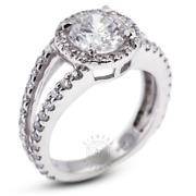 1.80 Ct D-si1 Round Earth Mined Certified Diamonds 14k Gold Halo Sidestone Ring