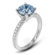 1.29 Ct Blue Si1 Round Natural Certified Diamonds 14k Classic Side-stone Ring