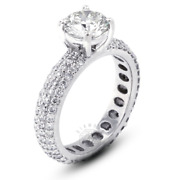 3.19ct Tw I Si1 Round Cut Earth Mined Certified Diamonds 18k Gold Sidestone Ring