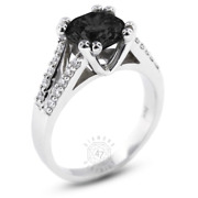 3.59ct Tw Black Round Earth Mined Certified Diamonds 18k Gold Side-stone Ring