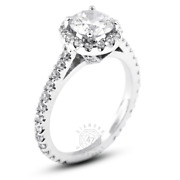 1.58ct Tw F Vs2 Round Natural Certified Diamonds 18k Gold Halo Side-stone Ring