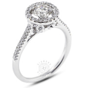 1.09ct Tw F-si1 Round Natural Certified Diamonds 18k Gold Halo Side-stone Ring