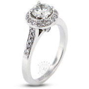 1.56ct Tw E Si2 Round Earth Mined Certified Diamonds Pt 950 Halo Side-stone Ring
