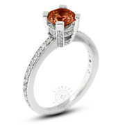 1.47 Ct Red Vs1 Round Natural Certified Diamonds Plat Classic Side-stone Ring