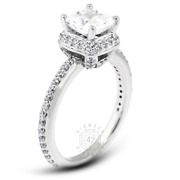 1.45 Ct F-si1 Princess Natural Certified Diamonds Pt 950 Halo Side-stone Ring
