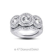 1.28 Ct F Vs2 Round Natural Certified Diamonds 14k Gold Halo Engagement Ring Set