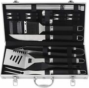 Bbq Accessories Stainless Steel Bbq Grill Tools Set 22pcs Aluminum Case Silver