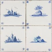 Nice Set Of 4 Dutch Delft Blue Tiles Landscape With House / Church 18th Ct.