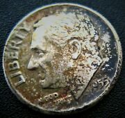 Toned 1955 Roosevelt Silver Dime Low Mintage 90 Us Type Silver 10¢ Coin Toning