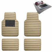 Auto Floor Mats Leather Universal Fitment For Car Suv Beige W/ Gray Dash Pad