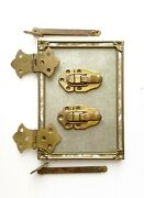 Antique Brass Trunk Hardware Parts Lot Salvage For Restoration