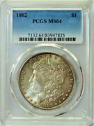 1882 Morgan 1 Dollar Pcgs Ms64 Nicely Toned Front And Back