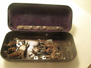 Antique Vintage White Sewing Machine Tin Assorted Parts Velvet Lined Metal