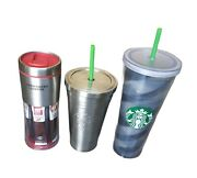 Starbucks Tumblers Lot Of 3 Stainless Steel Acrylic Cold Brew Via Ready Brew Mug