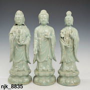 17.2 Chinese Antique Song Dynasty Ru Porcelain Three Holy Buddhas Statues