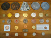 Lot Of 30 Vintage Collectible Tokens, Coins, Wooden Nickels, Medallions, Etc.