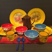 Vntg Hand Painted Enamelware Lot Of 13 Pieces Camp Boho Rv Country Collectible