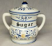 Vintage Heritage By Royal Sealy Blue Onion Sugar Bowl With Lid Numbered