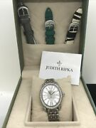 New Judith Pipka Sterling And Cz Swiss Movement Watch W/ Interchangable Bands Set