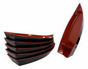 Pack Of 6 Plastic Lacquer Red Omakase Sushi Boat Serving Plate Platter 15long