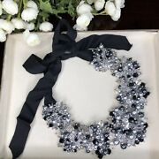Kate Spade Rare Stunning Big Crystal Gray And Black Cluster Necklace