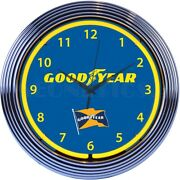 Goodyear Tire And Rubber Company Neon Clock - Tires - Auto Service - Blimp