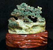 10.4natural Dushan Green Jade Carved Tree People House Duck Bridge River Statue