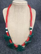 Stunning Vtg. Ruby Z Hand Painted Ceramic Christmas Tree Necklace