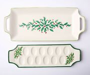 Lot Of 2 - New Lenox Holiday Handled Hors Dand039oeurves And Deviled Egg Trays Nib