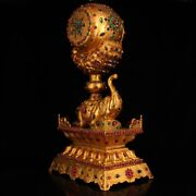 Collection Qing Dynasty Palace Queen Inlay Gem Gilt Elephant Drum Statue Wx598