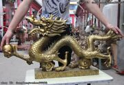 China Royal Palace Bronze Copper Fenghshui Fly Dragon Hold Bead Statue Sculpture