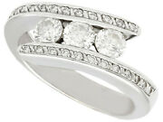 Vintage French Diamond And 18ct White Gold Twist Ring Circa 1960