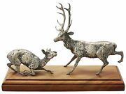 Victorian Sterling Silver Deer And Stag Table Ornament 1850-1899