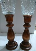Vintage Homco Clear Glass Cup Votive Peg Candle Holder W/ Wooden Candle Sticks