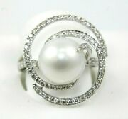 Natural South Sea Pearl And Diamond Spiral Ladyand039s Ring 18k White Gold 12mm .76ct