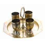 Vintage Set 4 Glasses And Trays Spirits Brass Silver Plated Europe 1970-1990