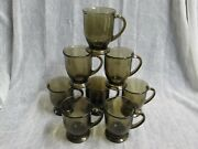 Lot 8 Country Brown Anchor Hocking 5 Footed Cafe Tea / Coffee / Hot Cocoa Mugs