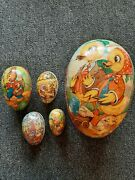 Large Set Of 5 Vintage Nested Paper Mache Easter Eggs From West Germany