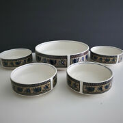 4 Mikasa Intaglio Arabella Cac01 5.5and039and039 Bowls And One 9and039and039 Round Vegetable Bowl Fs