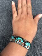 Old Pawn Native American Zuni Sterling Turquoise Coral Inlay Cuff Bracelet