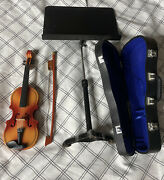 Rare Miniature Violin And Bow Leather Case And Music Stand Mini Replica Doll Mozart