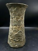 Antique Stone Holy Jar Carved Figures Story Scene Ancient Achaemenid Empire