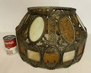 Vtg Large Brass Filigree And Glass Lamp Shade Hollywood Regency Victorian 16.5