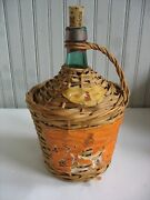 Vintage Wicker Covered Green Wine Bottle Old Label Handle Cover 1966 Spain Rose
