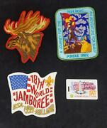 Three Large Boy Scout Jamboree Badges And Id Card