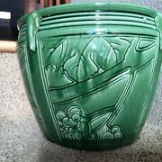 """Weller Large 10"""" Pottery Green Gloss,c1900 /1925 Jardiniere, 4 Different Panels"""