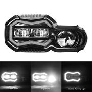 Black Motorcycle Led Headlight Headlamp Set For F800gs F700gs F650gs Cylinder